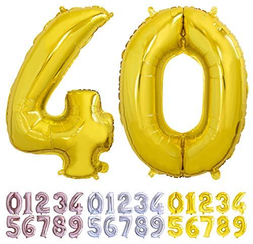 Globo numero 40 dorado. Globos Gigante números 4 0 disponible del 0 al 99 fiestas cumpleaños decoración fiesta aniversario boda tamaño grande 70 cm con accesorio para inflar aire o helio (40 Oro)