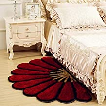 Ruhal Fabb Half Round Dark Red Color Sunflower Area Rug Mats for Bedroom Living Room Round Mats Computer Chair Mat