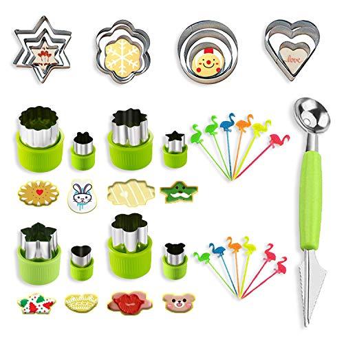BSET BUY 33 Stück Gemüse Ausstechformen,Edelstahl Cookie Plätzchen Ausstecher für Kuchen, Keks, Sushi, Obst, Gemüseschneider Set -20 Ausstecher +1 Doppelzweck Melonenausstecher + 12 Zahnstocher