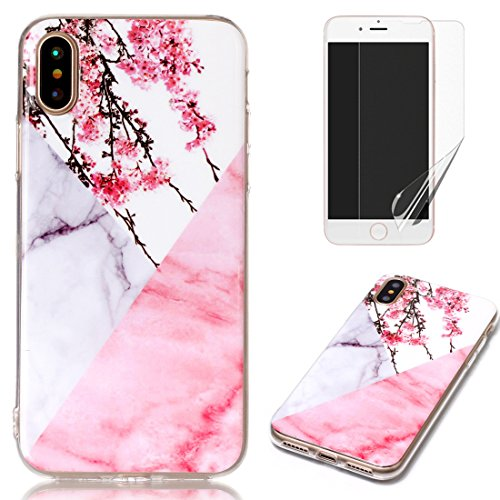 for iPhone X Marble Case with Screen Protector,OYIME Creative Glossy Flower Marble Pattern Design Protective Bumper Soft Silicone Slim Thin Rubber Luxury Shockproof Cover