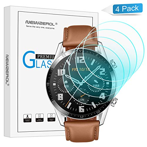 Huawei Watch GT 2 46mm Panzerglas Schutzfolie, 4 stück 2.5D Arc Edges 9H Glas Displayschutz Anti-Kratzer blasenfrei Schutzfolie mit CLAR Lebenslange Ersatzgarantie