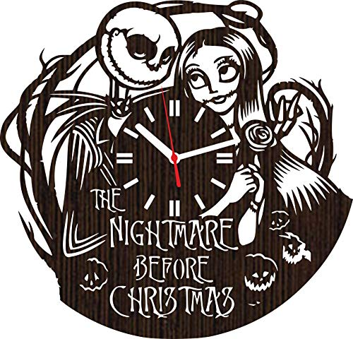 Absolutely Unique Gift Wooden Wall Clock The Nightmare Before Christmas for Men Women him her Kids Boys Girls Jack Skellington and Sally Simply Meant to be Wedding Home Decor Movie Christmas Vinyl