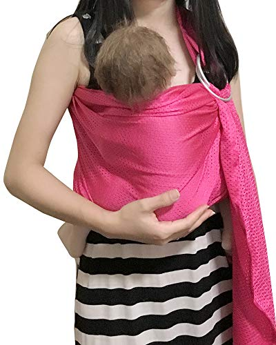 Vlokup Baby Water Ring Sling Carrier | Lightweight Breathable Mesh Baby Wrap for Infant, Newborn, Kids and Toddlers | Perfect for Summer, Swimming, Pool, Beach | Great for Dad Too Rose