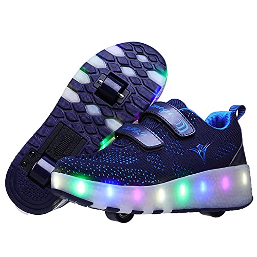 Zapatillas con Ruedas y Luces Niño Niña LED Luminosas Zapatos con Ruedas Carga USB Destello Patines en Línea Niños Deportes de Exterior Gimnasia Correr Zapatos de Skateboard