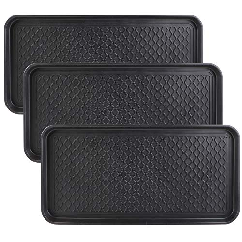 """Falflor Boot Trays for Entryway 3 Packs 30""""×15"""" Functional Heavy Duty Boot Trays Indoor Outdoor Mats Pet Feeding Mat(Black)"""