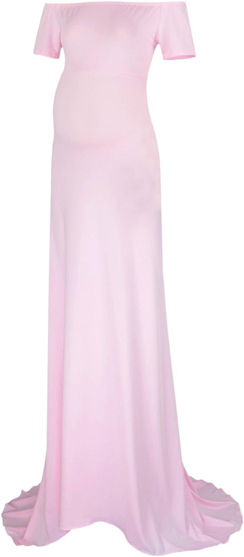 BlackCherry Women's Off Shoulder Short Sleeve Maternity Tank Gown Maxi Dress