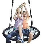 Jolitac Netzschaukel Nestschaukel mit Netz Tellerschaukel Garten-Schaukel Kinderschaukel Rundschaukel für