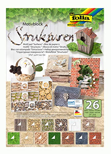 folia 48149 - Motivblock Strukturen, 24 x 34 cm, 26 Blatt sortiert, 13 x Motivkarton 270 g/qm und 13 x Motivpapier 80 g/qm, für vielfältige Bastelarbeiten