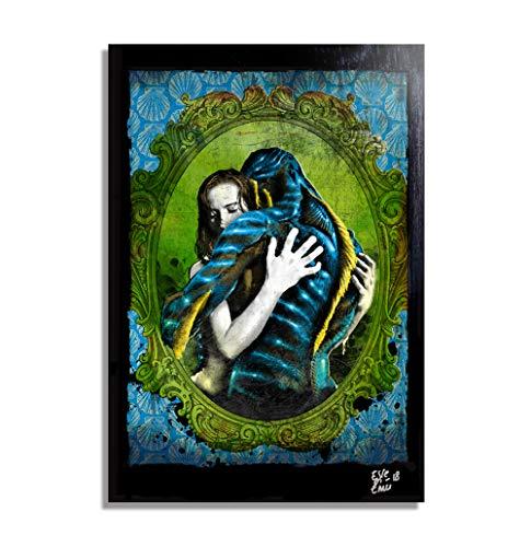 La Forma del Agua (The Shape of Water - Guillermo del Toro) - Pintura Enmarcado Original, Imagen Pop-Art, Impresion Poster, Impresion en Lienzo, Cuadro, Comics, Cartel de la Pelicula