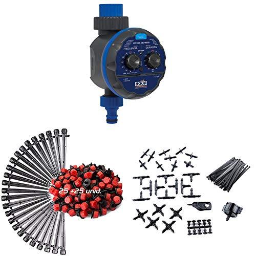 Aqua C4109 Programador de Riego para Jardín Modelo Acorazado + KITG003 Pack de Goteo para Riego Gota 25 Goteros + KITG002 Pack Básico de Accesorios de 4 mm + KITG001 Pack Básico de Accesorios de 16 mm