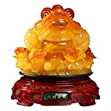 Dpliu China Feng Shui Money Frog Decoración para Sapo, Estatua de la Resina de la Riqueza Legged para la decoración de la Mesa de la Oficina y la Oficina de la Oficina Buena afortunada Regalo