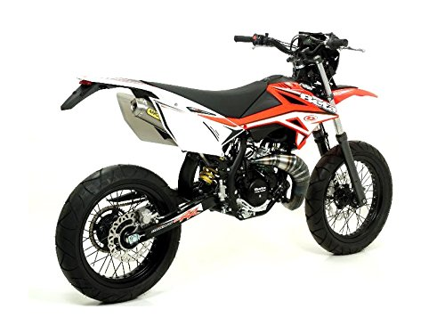 Arrow - Linea All Road 2T colori titanio Beta RR 50 cc Enduro/Super Motard, passaggio alto a destra