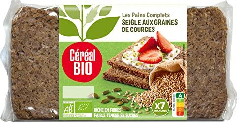Céréal Bio Pain Complet Seigle Courge, Le Paquet de 7 Tranches, 500g