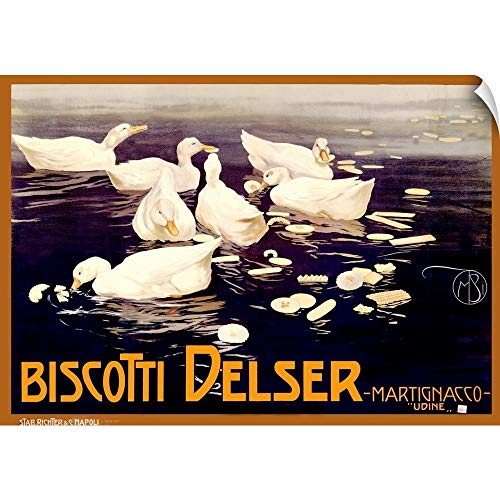CANVAS ON DEMAND Biscotti Delser, Vintage Poster, by Mario Borgoni Wall Peel Art Print, 60