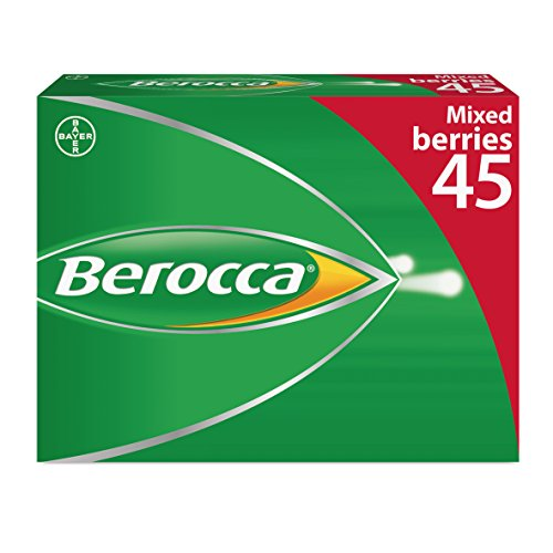 Berocca Vitamin C Effervescent Tablets, with Magnesium, Vitamin B12 and Vitamin B Complex, Mixed Berries Flavour, 1 Pack of 45 Tablets - 6 Weeks Supply