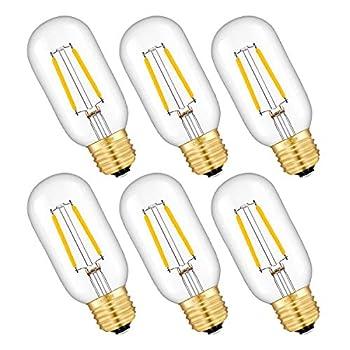 CRLight LED Tubular Edison Bulb 25W Equivalent 250LM 2W 2700K Warm White E26 Medium Base LED Filament Light Bulbs Antique Style T14 T45  Dimmable LED Tubular Bulbs 6 Pack