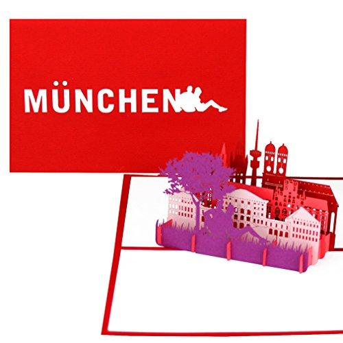 """Grußkarte """"München – Panorama mit Frauenkirche"""" - 3D Pop Up Karte mit Münchener Skyline – Städtekarte als Geburtstagskarte, Souvenir, Einladung & Reisegutschein City Trip nach München & Bayern Urlaub"""