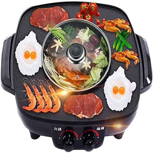 ZXZQ 2 in 1 Multifunzione Barbecue Elettrico, Stile Caldo Coreano BBQ Poke Hot Pot, Grill Elettrico con Pentola Calda, Non-Fumatori Riscaldamento Elettrico PanTemperatura 2200W