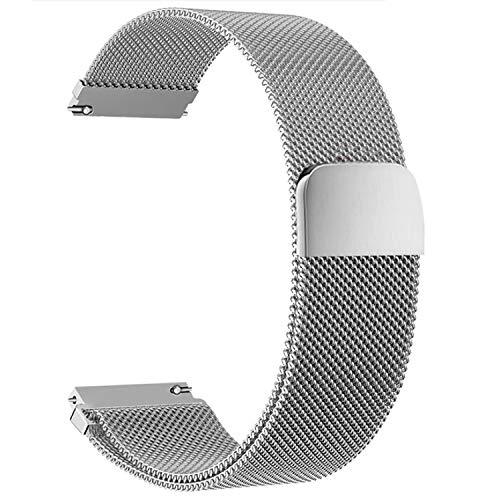 Correas para Relojes de Acero Inoxidable Milanese Mesh Correa de Reloj Magnética Reemplazo de la Banda de Reloj de Pulsera de Malla de Acero Inoxidable para Hombres y Mujeres (20mm, Plata)