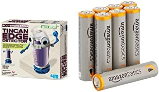 4M Tin Can Edge Detector Science Kit with Amazon Basics AAA Batteries Bundle