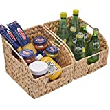 """StorageWorks Water Hyacinth Wicker Baskets with Built-in Handles, Hand Woven Baskets for Organizing, 8.7"""" x 9.8"""" x 7.5"""", 2-Pack"""
