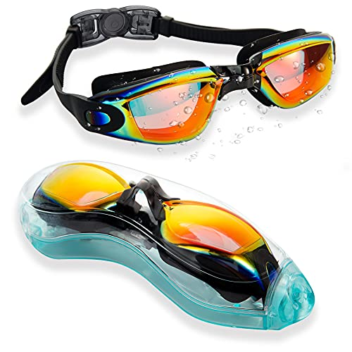 Swim Goggles, Anti-Fog Swimming Goggles for Adult Men Women Youth Kids, Professional UV Protection Pool Goggles, No Leaking Water Goggles for Race Competition Triathlon