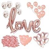 Set de decoración romántico XXL 2020 – 31 piezas – Globo XXL Love Pétalos, globos de confeti, globos de corazón, globos de decoración, regalo para ella, día de San Valentín, boda, compromiso