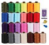 Kit de fil à coudre en polyester – Bobine de fil de 25 couleurs avec aiguille, dé à coudre, enfile-aiguille, fil de 800 m, fil de machine à coudre parfait pour la couture à la main/machine à coudre