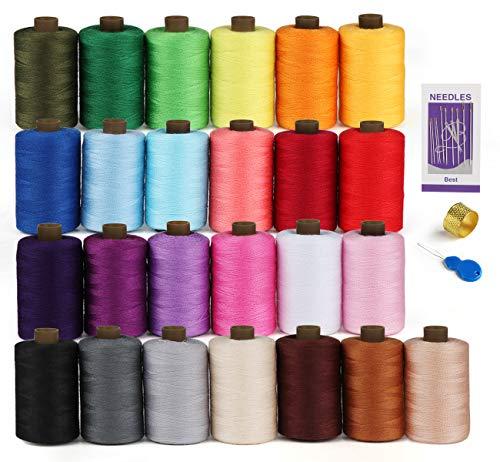 Kit de fil à coudre en polyester – Bobine de fil de 25 couleurs avec aiguille, dé à coudre, enfile-aiguille, fil de 731 m parfait pour la couture à la main/machine à coudre