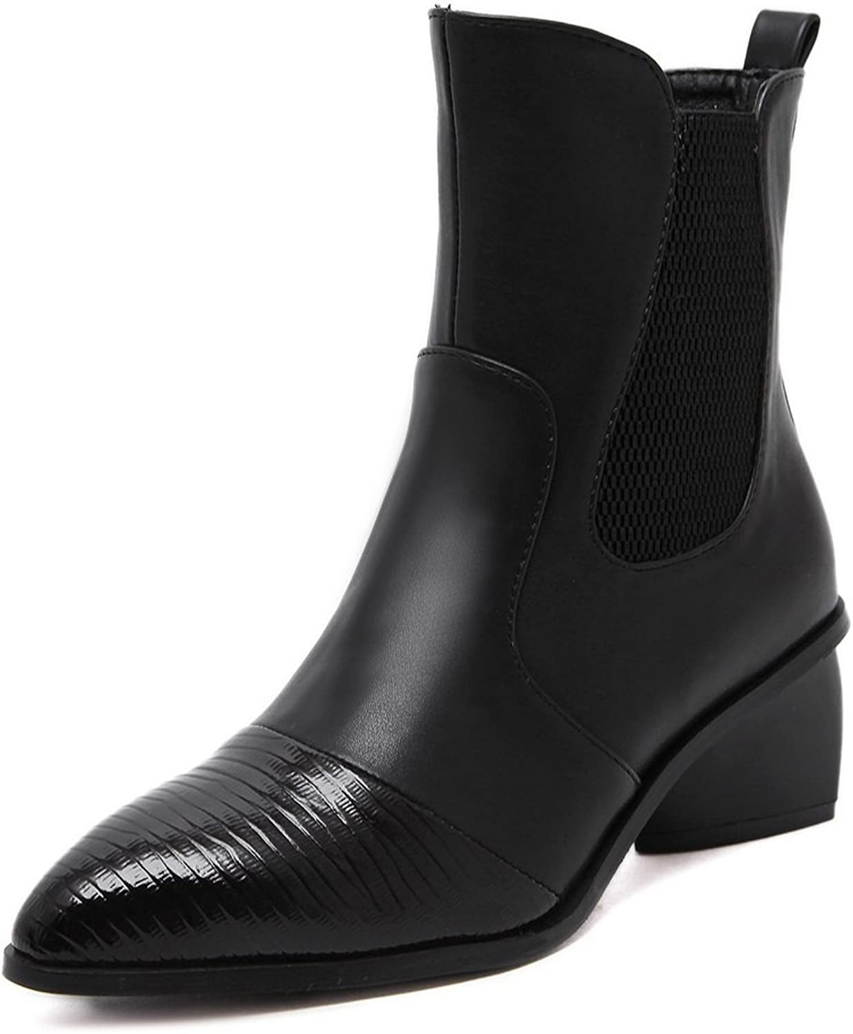 AdeeSu Womens Formal Pointed-Toe Two-Toned Urethane Boots