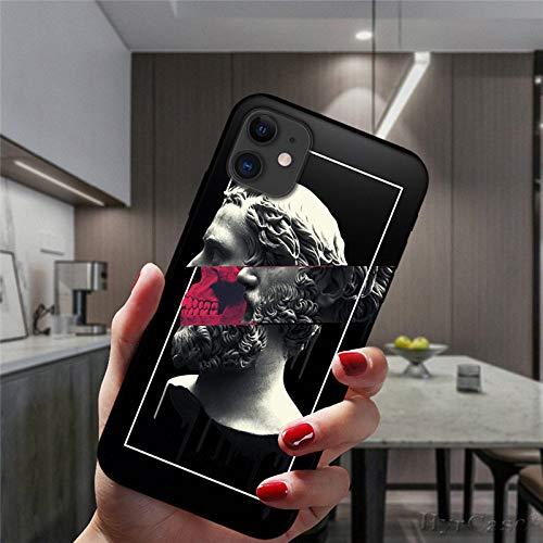 Mona Lisa David Statue Funda de Silicona de Arte Abstracto para iPhone 12 Mini 11 Pro XS MAX 6S 8 7 Plus X XR 5S SE 2020 Funda Negra para teléfono, para iPhone 7 8 SE2, Estilo 6