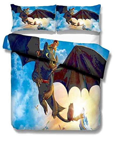 Bcooseso Cartoon anime character Duvet Cover Set - Duvet Cover and Pillowcase Microfibre 3D Digital Print Three-Part Bedding Set, 3, Double size 200 x 200 cm