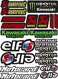 Pegatina Adhesivo Vinilo Sponsor Patrocinador Compatible con Akrapovic - Elf - Monster - Kawasaki - Showa Impresión Laminado Protector contra Rayos Uvi y Arañazos Hoja A4 (22 Pegatinas)