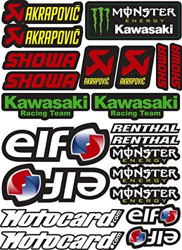 Vinyl-Aufkleber Sponsor, kompatibel mit Akrapovic - Elf - Monster - Kawasaki - Showa Laminatdruck Schutz vor UV-Strahlen und Kratzern, A4-Blatt (22 Aufkleber)