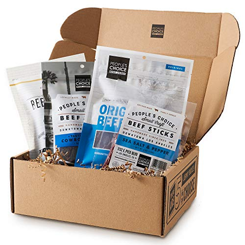 People's Choice Beef Jerky - Jerky Box - Simple & Savory - Christmas Gift for Men - Protein Snacks Military Care Package - Best Father's Day Gifts for Him - Meat Snack Sampler Gift Basket - 4 Bags