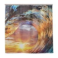 KIMDFACE シャワーカーテン カラフルな海の波の海の水紋 防水 浴室 お風呂 バスカーテン 洗面所 間仕切り 目隠し用 HDデジタル印刷 取付簡単 (90*180cm)