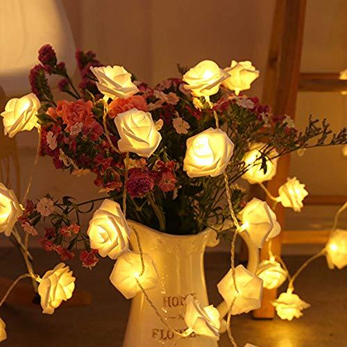 OUYA LED White Rose Flower 2PCS String Lights, 2.2m 20 Luces/String, Funciona con Pilas, Decoraciones para Interiores y Exteriores para Festivales (Sin decoración)