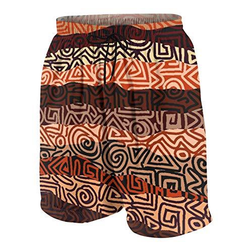 KOiomho Hombres Personalizado Trajes de Baño,Patrón de huelgas étnicas en Colores Marrones Antiguas líneas espirales Curvas Figuras africanas,Casual Ropa de Playa Pantalones Cortos