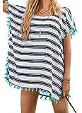 UMIPUBO Copricostume Donna Camicetta Esterna da Spiaggia Bikini Cover Up mit Motivo a Strisce Moda personalità Elegante Chiffon e Nappa Copricostume per Spiagge Estive, Piscine