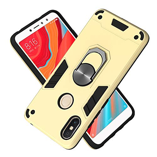 FAWUMAN Armor Phone Case 2in1 Phone Protective Case with Phone Ring PC+ TPU Double-layer Phone Cover for Xiaomi Redmi S2 /Y2 (Golden)