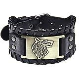 Genuine Leather Wolf Bracelet Men Punk Belt Buckle Black Wide Wide Wristband Cuff Bangle