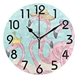 Dozili Chic Summer Style Fashion Dressed Flamingos Print Round Wall Clock Arabic Numerals Design Non Ticking Wall Clock Large for Bedrooms,Living Room,Bathroom