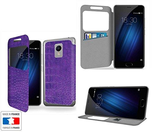 Ultra violet Collection coccodrillo Portafoglio PU Pelle Custodia Protettiva Case Cover per Meizu M3s con ventana de visibilidad - Casae Industry