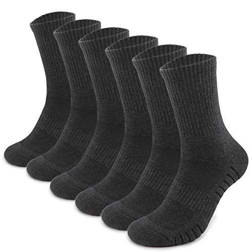 TUUHAW Sportsocken Herren Damen (6 Paar) Laufsocken Gepolstert Socken Grau 43-46
