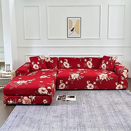 WXQY Funda de sofá de Esquina en Forma de L elástica Todo Incluido sofá a Prueba de Polvo Toalla Funda de sillón sofá de Esquina protección Muebles A12 4 plazas