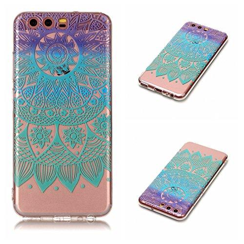 Qiaogle Teléfono Caso - Funda de TPU Silicona Carcasa Case Cover para Huawei P10 (5.1 Pulgadas) - XS38 / Azul Mandala
