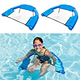 ALLADINBOX 2 Pack Pool Noodle Sling Mesh Chair for Swimming Pool Noodles, Foldable Pool Noodle Sling net for Floating seat, Great for Water Relaxation, Noodle not Included, Blue