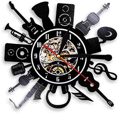 wttian Reloj de Pared de Vinilo Guitarra eléctrica acústica Reloj de Pared...