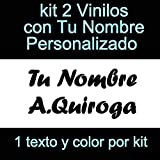 Vinilin - Pegatina Vinilo Tu Nombre o Texto Personalizado - Bici, Casco, Pala De Padel, Monopatin, Coche, Moto, etc. Kit de Dos Vinilos (Negro)