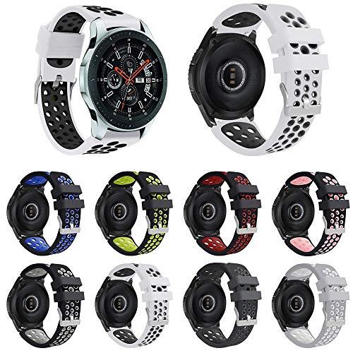 Pulseira Esportiva para Samsung Galaxy Watch 46mm - Gear S3 Frontier - Gear S3 Classic - Gear 2 - Branco/Preto